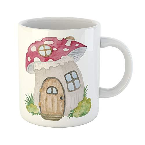 Bone China Cottage Garden - Semtomn Funny Coffee Mug Blue Gnome House Watercolor Hand Cute Childish Cartoon Fantasy 11 Oz Ceramic Coffee Mugs Tea Cup Best Gift Or Souvenir