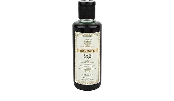 Khadi Bhringraj aceite en el cabello a base de plantas Khadi 210ml: Amazon.es: Salud y cuidado personal
