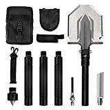 BACOENG Folding Shovel - with Knife and Fire Starter - Perfect for Snow Shovel, Entrenching Tool, Auto Emergency Kit, Survival Axe, Camping Multitool, Tactical, Military, Self-Defense
