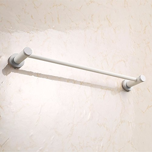 Hlluya Bathroom Accessory Set Wood Towel Bars Single Lever Bathroom Towel Rack Bathroom Wall Rod White Towel Hanging Out of Wood, Single Lever, Punch, 50cm