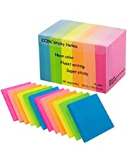 ZCZN 6 Bright Assorted Colours Sticky Notes, 76 x 76 mm,100 Sheets/Pad
