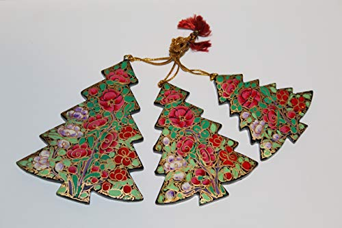Rumikrafts Handmade Paper Mache Christmas Tree (Set of 3), for Decor and Ornaments, from Kashmir India (Multicolor)