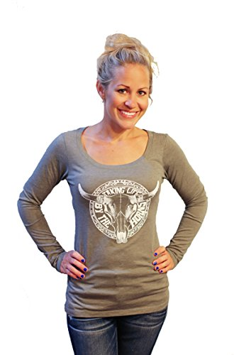 Women's Shirt TAKIN LIFE BY THE HORNS with Country graphic print on boutique style long sleeve Top by Tough Little Lady; G LS SM