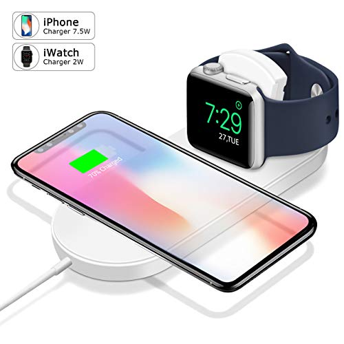 Wireless Charger, Apple Watch Charger Magnetic Wireless Charger 2-in-1 Pad Stand Cable Compatible with Apple Watch Series 1/2/3/4 and iPhone XS Max/XS/XR/X iPhone 8/8Plus for Samsung Galaxy S9 S8 Note