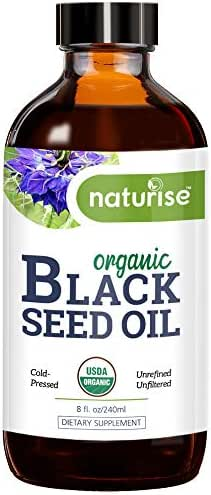 Naturise Organic Black Seed Oil (Nigella Sativa, Cumin Seed) Cold Pressed Non-GMO, 8 oz Glass Bottle Source of Essential Fatty Acids, Omega 3 6 9, Antioxidant for Immune Boost, Joints, Skin, Hair