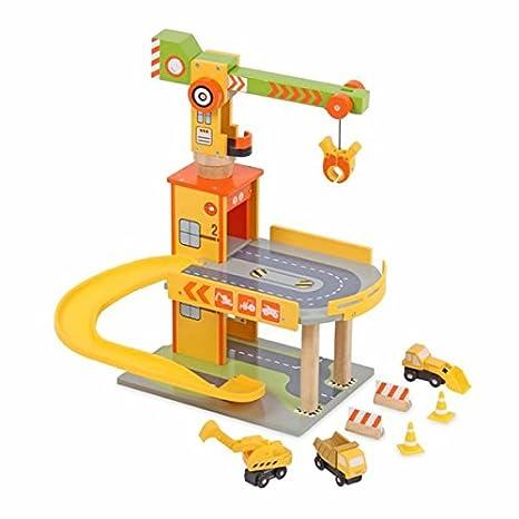 Amazon Com Mentari Wooden Toy Garage Construction Play Set X