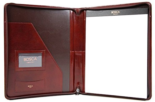 Bosca Old Leather Collection Zippered Letter Pad Dark Brown by Bosca