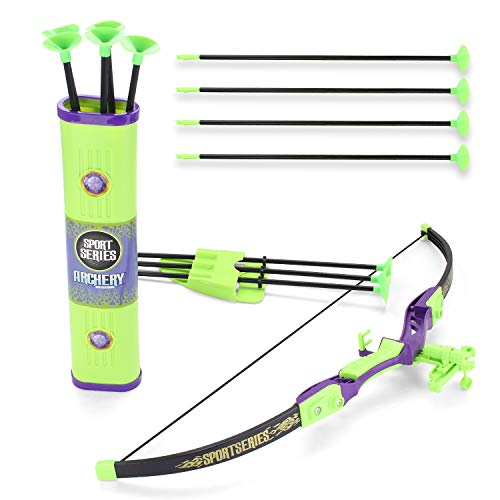 EXERCISE N PLAY Sport Series Archery Shooting Toy Green Bow & Arrow Play Set for Kids with Shoulder-Strapped Quiver and 12 Suction Cup Arrows]()