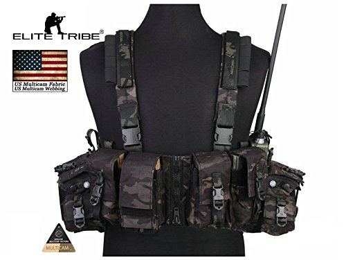 Elite Tribes LBT 1961A-R Load Bearing Chest Rig Tactical CORDURA Molle Vest Multicam Black by Paintball Equipment