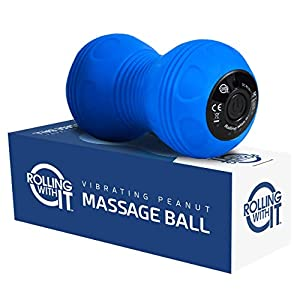 Professional Vibrating Peanut Massage Ball – Deep Tissue Trigger Point Therapy, Myofascial Release – Handheld, Cordless – 4 Intensity Levels – Dual Lacrosse Ball Vibration Massager – Blue