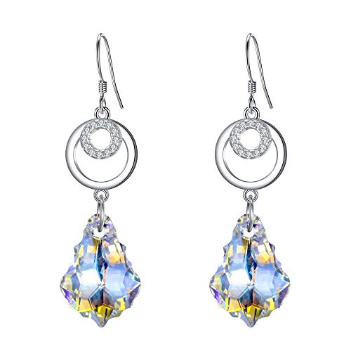 BriLove 925 Sterling Silver Earrings for Women Swarovski Crystal CZ Open Hoop Baroque Chandelier Hook Dangle Earrings Iridescent Aurora Borealis Clear AB