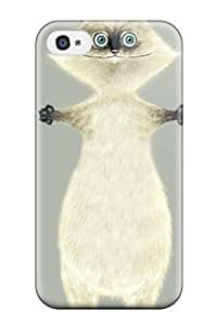 New Design Shatterproof YzKzqEP565jUwlc Case For Iphone 4/4s (white Funny Cartoon Cat)