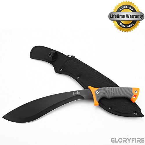 GLORYFIRE Parang Machete AUS-8 Stainless Steel Blade Hunting Knife&Tool Full Tang with Nylon Sheath 12in Blade Blackening Anti-rust Processed Arc Hand Protected Rubber Grip Tactical Kukri Knife
