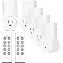Etekcity Wireless Remote Control Plug Electrical Outlet Switch for Household Appliances, Smart outlet Wireless Remote Light Switch, White (Learning Code, 5Rx-2Tx)