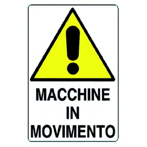 Cartello Attenzione Macchine In Movimento In Alluminio.