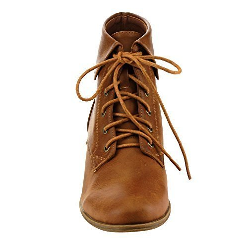 TOP Moda EC89 Women's Foldover Lace Up Low Chunky Heel Ankle Booties (8, Tan)