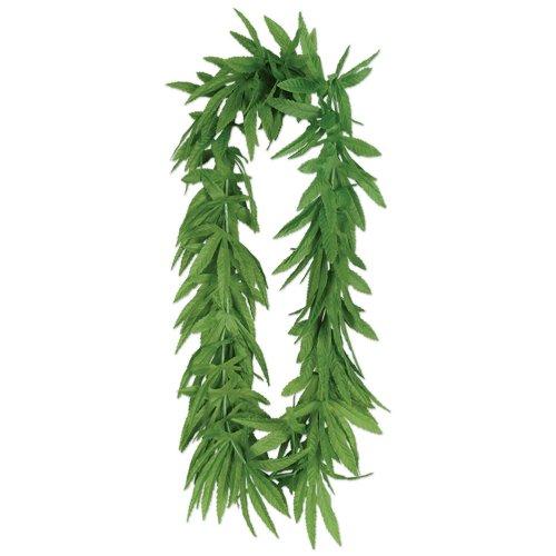 12 Tropical Fern Green Leaf Leis Hawaiian Luau Party ()