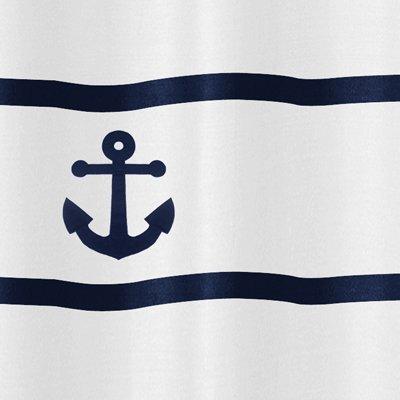 Sweet Jojo Designs Anchors Away Nautical Navy and White Kids Bathroom Fabric Bath Shower Curtain