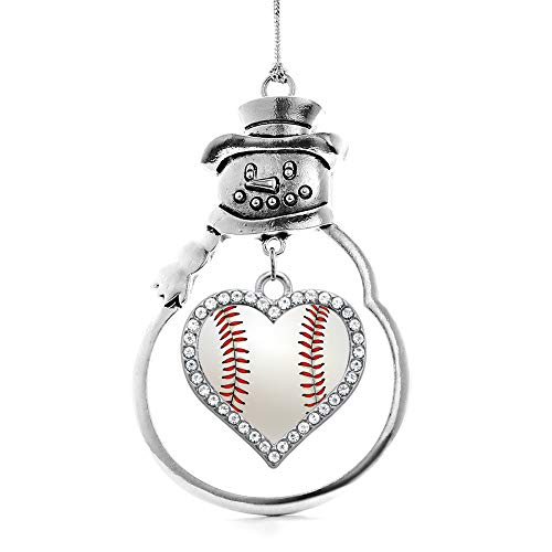 Inspired Silver - Baseball Charm Ornament - Silver Open Heart Charm Snowman Ornament with Cubic Zirconia Jewelry ()