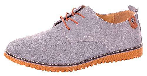 Runday Men's Fashion Suede Leather Shoes Round Toe Lace Up Casual Oxfords(11.5 D(M)US,grey) (11.5 D(M) US, - Shoping Online Australia