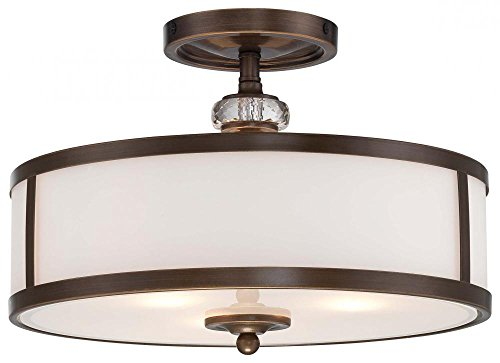 (Minka Lavery Wall Light Fixtures 6183-357 Raiden Reversible Glass Bath Vanity Lighting, 3 Light, 300 Watts, Iron)