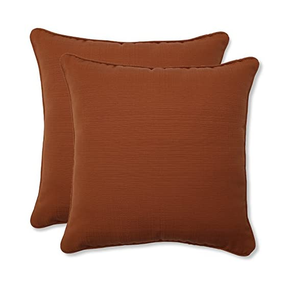 Pillow Perfect Outdoor Cinnabar Corded Throw Pillow, 18.5-Inch, Burnt Orange, Set of 2 - Includes two (2) outdoor pillows, resists weather and fading in sunlight; Suitable for indoor and outdoor use Plush Fill - 100-percent polyester fiber filling Edges of outdoor pillows are trimmed with matching fabric and cord to sit perfectly on your outdoor patio furniture - living-room-soft-furnishings, living-room, decorative-pillows - 41RZ8IrnvcL. SS570  -