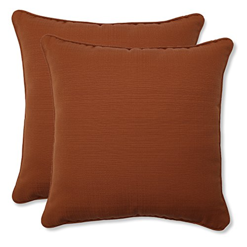 Pillow Perfect Outdoor Cinnabar Corded Throw Pillow, 18.5-Inch, Burnt Orange, Set of 2