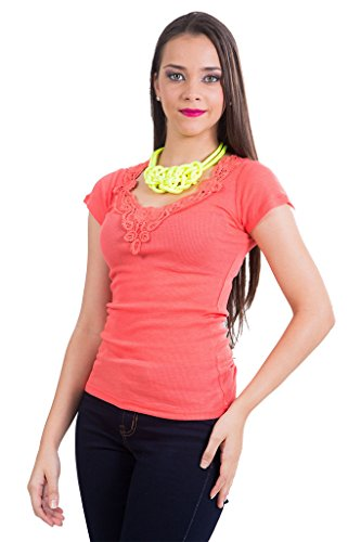Color Story Women's Short Sleeve Top Medium Bright Coral