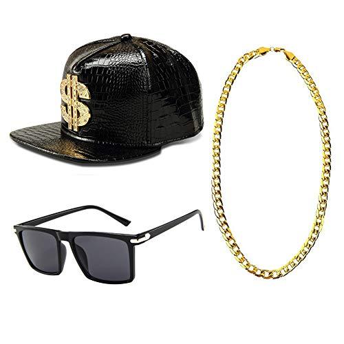 Icevog Mens 1980s 90s Hip Hop Baseball Cap Snapback Hat Gold Chain Necklace Sunglasses Gangster Costume Accessories Set