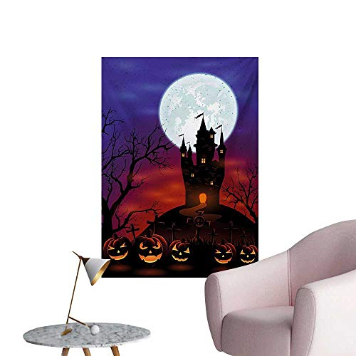 Anzhutwelve Halloween Photographic Wallpaper Gothic Haunted House Castle Hill Valley Night Sky October Festival Theme PrintMulticolor W32 xL48 Art Poster]()