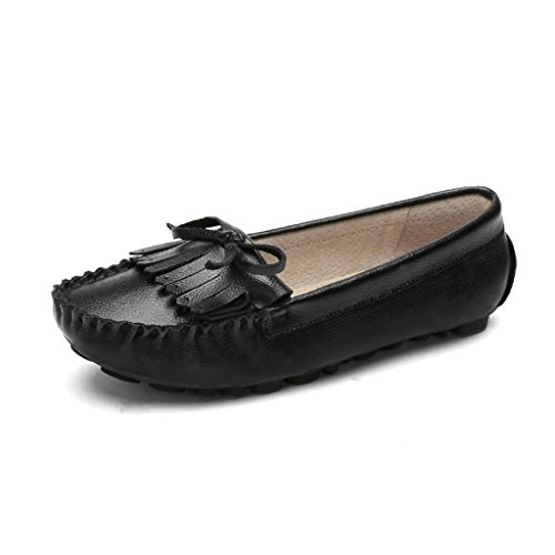 HWF Zapatos para mujer Zapatos de guisantes de primavera con poca profundidad Zapatos casuales de una sola mujer Casual Un pedal Lazy Mujeres embarazadas Mujeres ( Color : Negro , Tamaño : 36 ) Negro