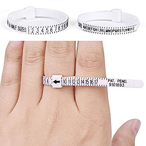 Silverdewi Ring Ruler Finger Ring Strumento per dimensionamento Taglia UK Misure USA Misure Anello Sizer-Bianco