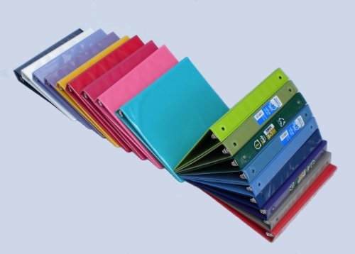 Samsill Assorted Colors 3-Ring View-Binders, 1-Inch Capacity, 8.5'' x 11'', with Insertion Sleeves and Inside Pockets, BOX OF 18 by Samsill (Image #2)'