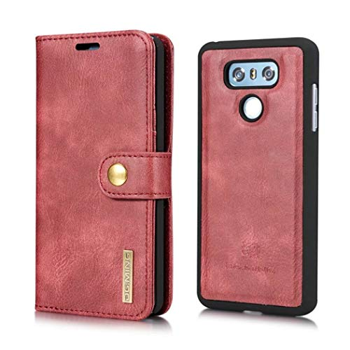 DG.MING LG G6 Case, Magnetic Detachable 2 in 1 Vintage Genuine Cowhide Leather Folio Flip Wallet Cases Removable Retro 3 Card Slots Phone Back Cover LG G6 (Black) (Red) (Credit Card Machine Attached To Cell Phone)
