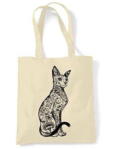 Bag Large Tote With Tattoos Hipster Shopping Print Cat Cream Shoulder 8BpHq7cw