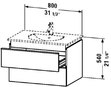 Duravit Vanity unit wall-mounted, 2 drawer, 21 1/2