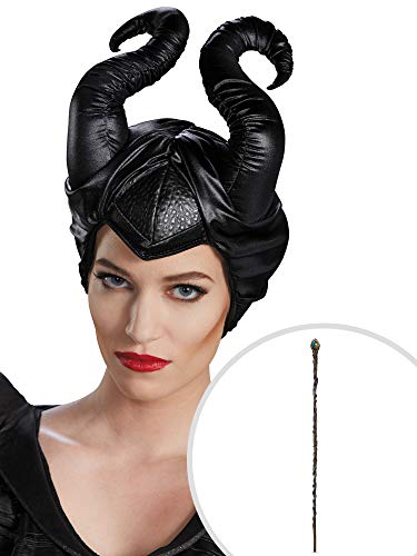 Maleficent Horns Costume Accessory Kit Classic Adult One Size With Staff