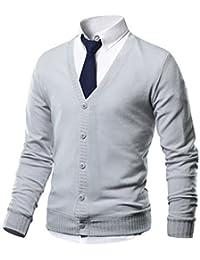 HARRISON83 Mens Slim Fit V-Neck Button Up Cardigan Sweater