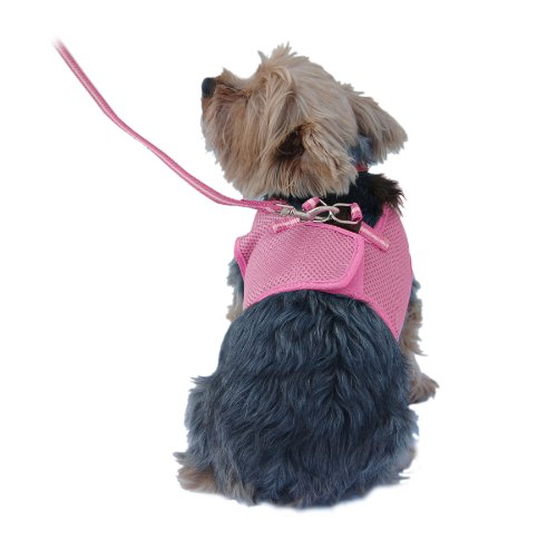 Anima Pink Mesh Jersey with Pink Trim Harness and Leash Set, Medium, My Pet Supplies