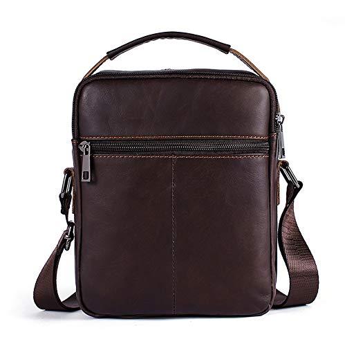 GOODLQ Leather Mens Bag Crazy Horse Leather Retro Mens Shoulder Bag First Layer Cowhide Mens Messenger Bag Handbag Briefcase