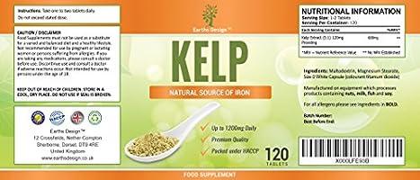 Kelp - Alga Kelp 600mg - Gran Fuente de Yodo - Rica en Vitaminas y Minerales - Suplemento Máxima Concentración - Hombres y Mujeres - Apto ...