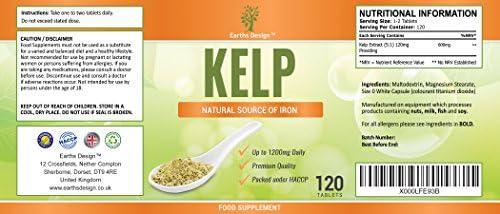Kelp - Alga Kelp 600mg - Gran Fuente de Yodo - Rica en Vitaminas y Minerales - Suplemento Máxima Concentración - Hombres y Mujeres - Apto Vegetarianos ...