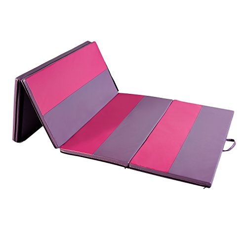"Wonlink Gymnastic Mat Durable Folding Gymnastic Mat Tumbling Exercise Yoga Fitness PU Leather for Kids Ladies (pink and purple 3, 4'x8'x2"")"