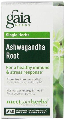 Gaia Herbs Ashwagandha Root Liquid Phyto-Capsules, 60 Count