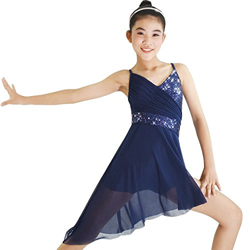 Dance Modern Costumes (MiDee Lyrical Dance Costume Dress Sequined V-Neck High-Low For Girls Women (MC, Navy Blue))