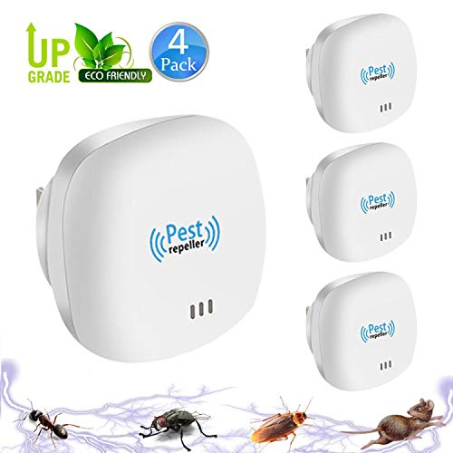 Tomu Ultrasonic Pest Repeller for Bugs and Insects, Mice Repellent to Repel and Prevent Mouse, Ant, Mosquito, Spider, Rodent, Roach,Child and Pets Safe Control (4 Write Mini)