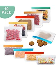Reusable Storage Bags, Silicone and Plastic Airtight Freezer Bags Ziplock (4 Sandwich Bags + 2 Snack Bags) BPA Ziplock Lunch Bag for Food Travel Storage Home Organization