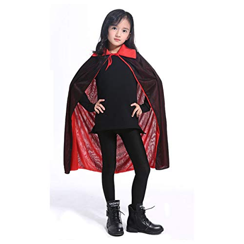 Halloween Hooded Cape Cloak, Children Unisex Full Length Velvet Robe Halloween Cosplay Costume Party(31.5 in) ()
