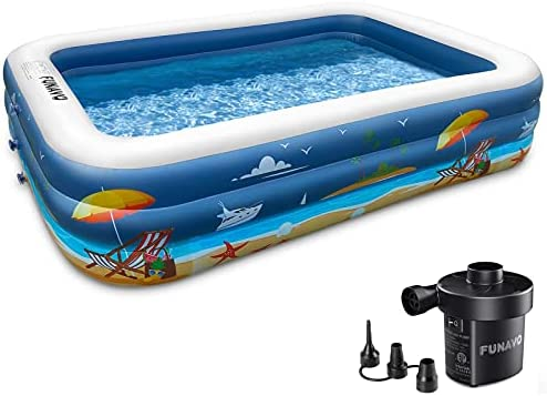 Inflatable Swimming Pool, FUNAVO 100″ X 71″ X 22″ Full-Sized Family Inflatable Pool for Kids Adults Baby Toddlers, Blow Up Kiddie Pool With Pump for Backyard, Outdoor Swim Center