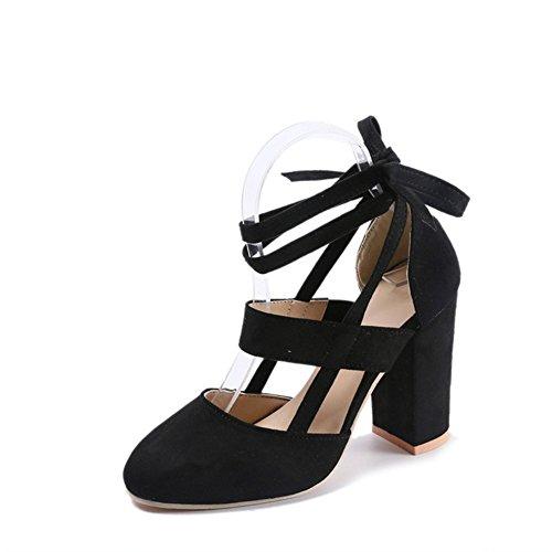 Damen Wildleder Sandalen - Elegant Bequeme Blockabsatz Schuhe Mittlerer Absatz Party Abendschuhe Schnüren Runder Zeh Schuhe Schwarz